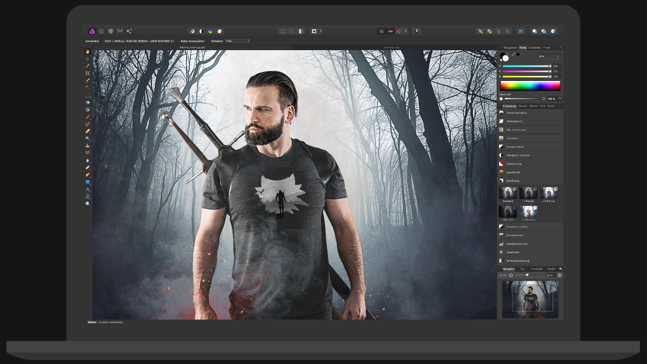 Working in Affinity Designer on PixelCotton Model with the Witcher Design on T-Shirt