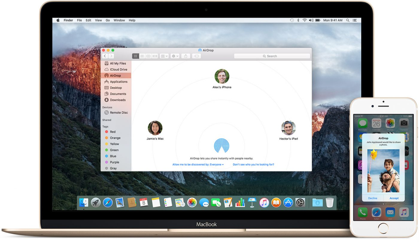 Apple AirDrop Macbook and iPhone